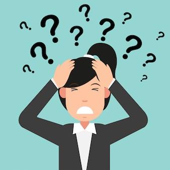 Pensamiento empresarial con signos de interrogación