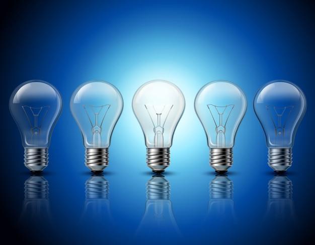 Pensamiento exitoso y obtener ideas brillantes metáfora quemando gradualmente fila de bombillas