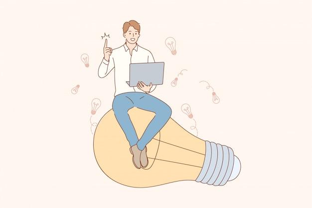 Pensamiento, idea, éxito, búsqueda, concepto de negocio.