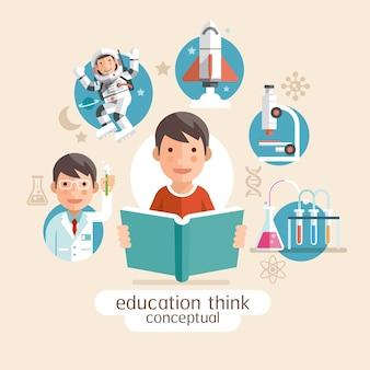Pensando en la educación conceptual. niños con libros. ilustraciones.