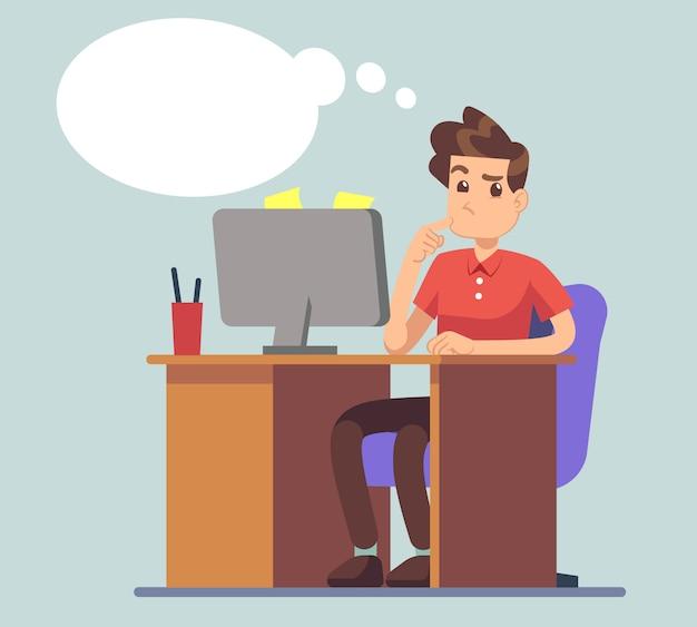 Pensando en el hombre y pensar burbuja. estudiante en la mesa con el concepto de vector de educación portátil. pensamientos de personajes masculinos sobre negocios en línea