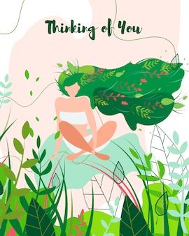 Pensando en ti tarjeta de felicitación, chica en la naturaleza.