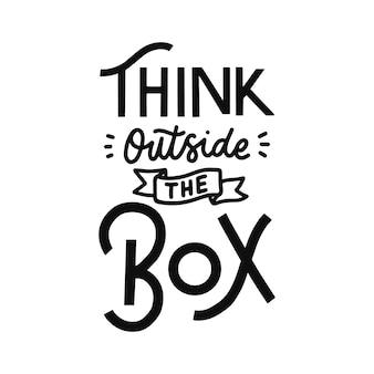 Pensar fuera de la caja cita de letras a mano
