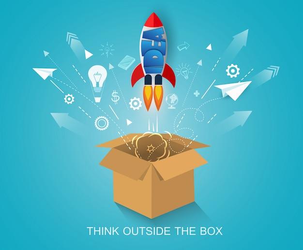 Pensar fuera de la caja. lanzadera espacial lanzada al cielo. poner en marcha el concepto de negocio