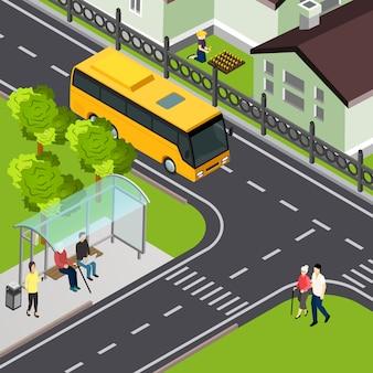 Pensionista esperando transporte público y anciana con asistente llegando al cruce peatonal isométrica ilustración vectorial
