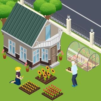 Pensionistas cerca de su propia casa durante el trabajo en el jardín isométrico