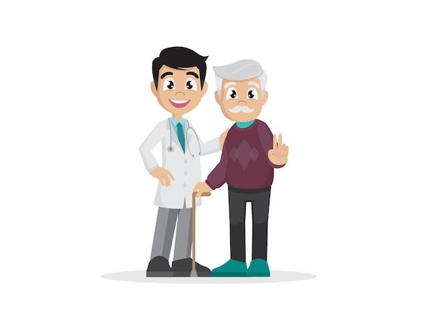 Pensionistas con doctor.