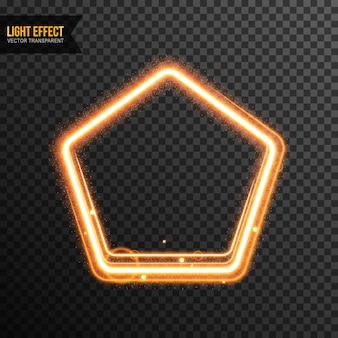 Pentágono efecto de luz vector transparente con brillo dorado
