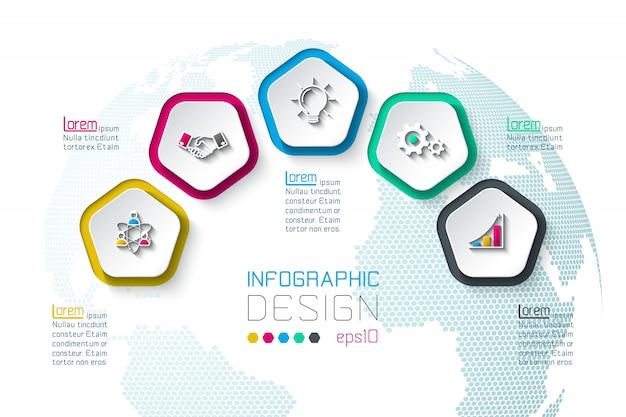 Pentágonos etiqueta infografía con 5 pasos.