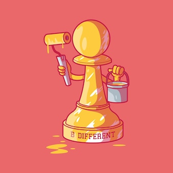 Peón de ajedrez siendo diferente usando pintura ilustración vectorial concepto de diseño de inspiración de motivación