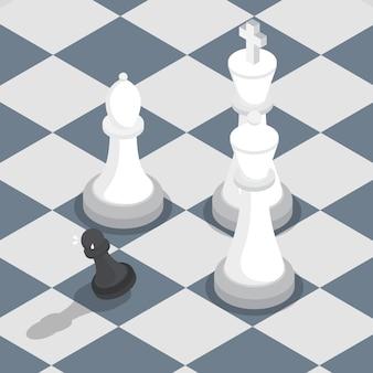 Peón negro isométrico rodeado de blanco rey reina obispo en el tablero de ajedrez