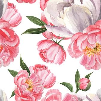 Peonía flores acuarela patrón inconsútil floral botánico acuarela estilo vintage textil