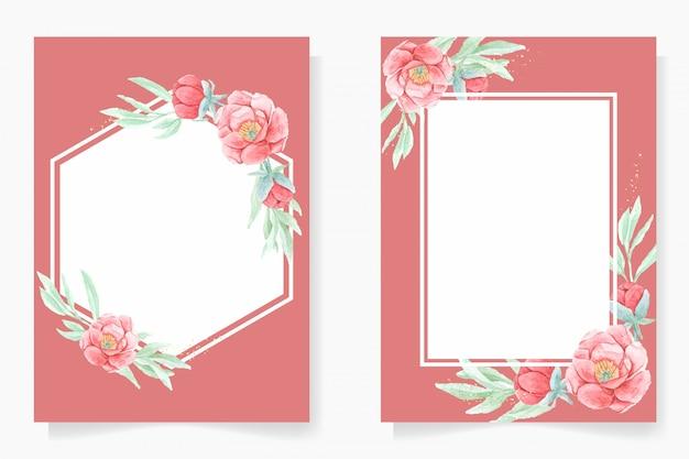 Peonía roja acuarela con marco de invitación de boda o colección de plantillas de tarjetas de año nuevo chino asiático