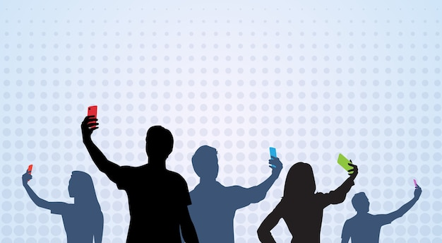 People group silhouette taking selfie banner