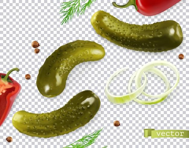 Pepinillos en vinagre. pepinillo, eneldo, pimiento, cebolla, semillas de cilantro. verduras realistas 3d