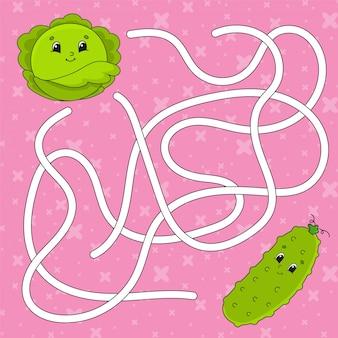 Pepino vegetal, repollo. laberinto. juego para niños.