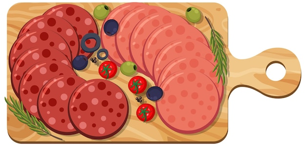 Pepperoni y salami en un plato aislado sobre fondo blanco.