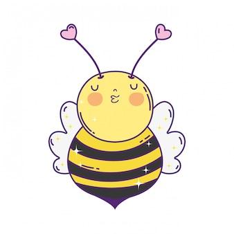Pequeña abeja kawaii personaje