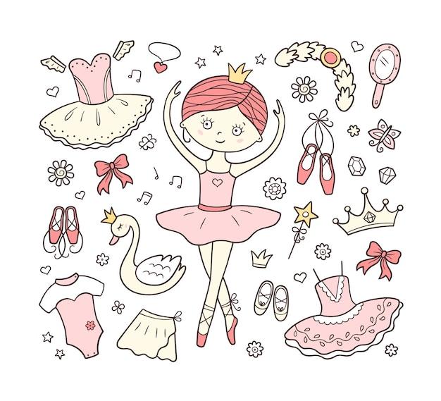 Pequeña bailarina y un conjunto de accesorios de ballet.