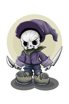 Una pequeña calavera con sombrero morado y zapatos con dos espadas.