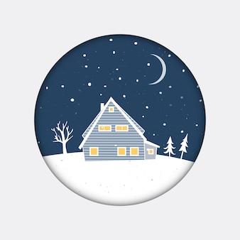 Pequeña casa azul en el paisaje nocturno con siluetas de árboles y nieve. tarjeta de navidad con paisaje invernal en marco de círculo.