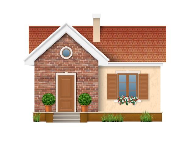 Pequeña casa residencial con pared de ladrillo y techo de tejas rojas.