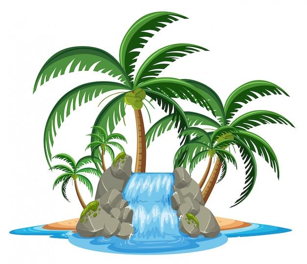 Pequeña cascada en la isla tropical en pentecostés