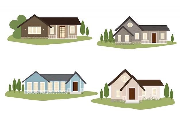 Pequeña colección de casas de estilo victoriano o americano.