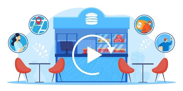 Pequeña empresa, tienda local recarga ilustración vectorial. puesto de mercado de escaparate plano de dibujos animados con productos alimenticios, cafetería restaurante comenzando a trabajar, recarga de negocios