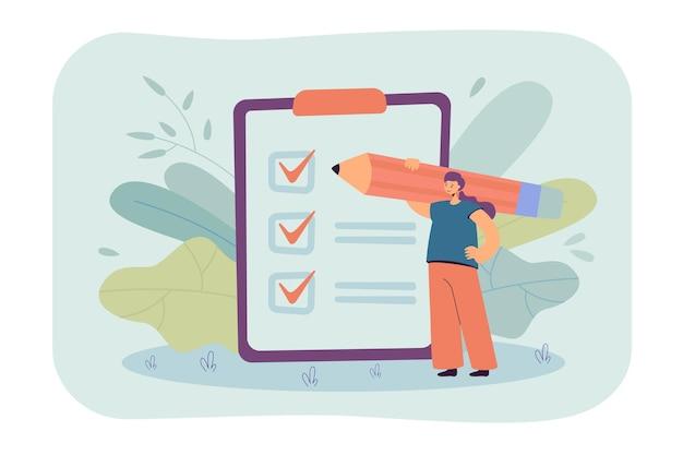 Pequeña empresaria comprobando las tareas completadas en la ilustración plana del portapapeles.
