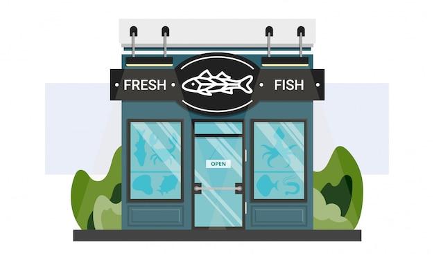 Pequeña entrada local de la tienda de pescado con letrero de línea