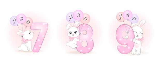 Pequeña fiesta de cumpleaños linda del conejo con la ilustración del número