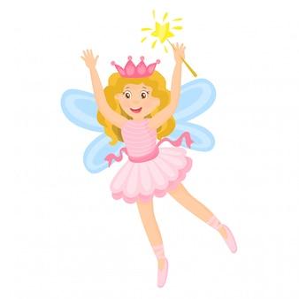 Pequeña hada rosa con varita mágica