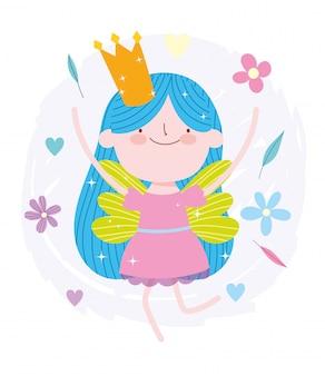 Pequeña historieta feliz del cuento de la princesa de hadas con corona y flores