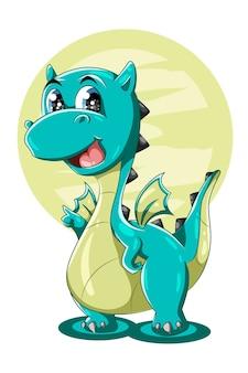 Una pequeña ilustración de dibujos animados de animales de dragón verde grande lindo