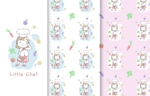 Pequeña ilustración linda del cocinero, tarjeta y modelo inconsútil.