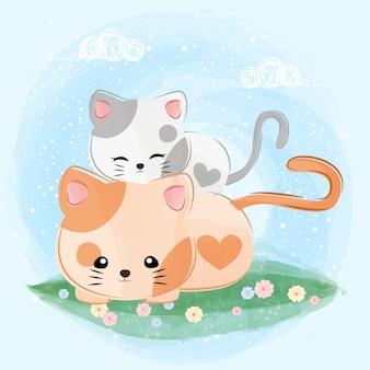 Pequeña ilustración linda del gato de la pareja