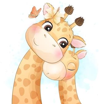 Pequeña ilustración linda de la madre y del bebé de la jirafa