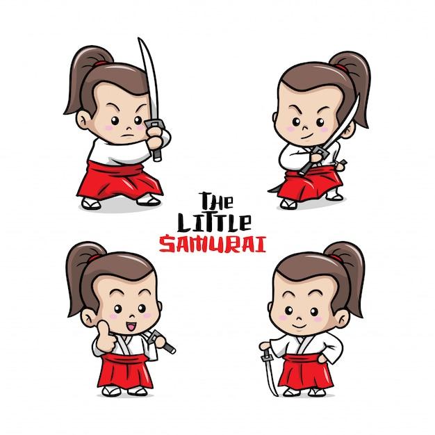 La pequeña ilustración linda del samurai