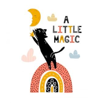 Una pequeña impresión mágica con un lindo gato negro parado en el arco iris y atrapando la estrella