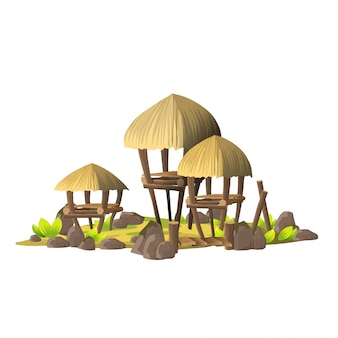 Pequeña isla tropical con casuchas simples, casas de madera con techos de paja. isla con el pueblo de salvajes sobre un fondo blanco.