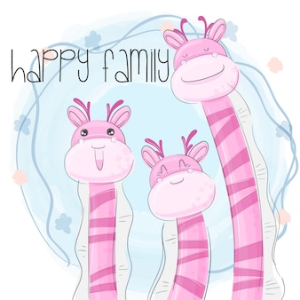 Pequeña jirafa familia mano dibujar ilustración-vector