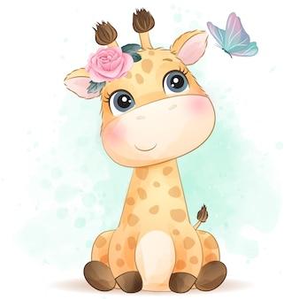Pequeña jirafa linda con efecto acuarela
