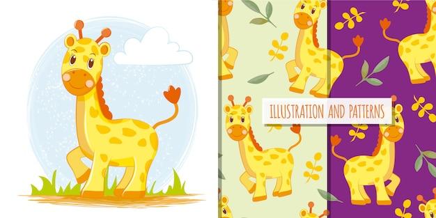 Pequeña jirafa linda con patrones