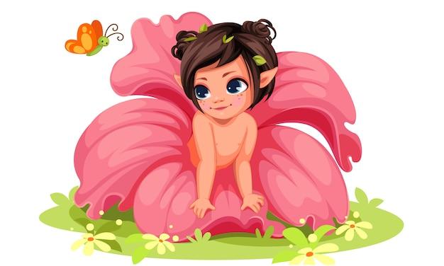 Pequeña muchacha de flor hermosa que mira la mariposa