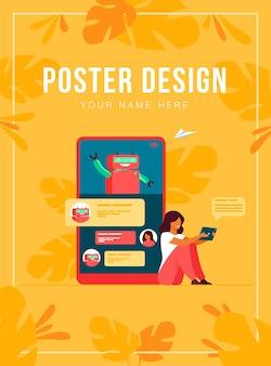 Pequeña mujer con asistente móvil con chatbot aislado ilustración plana. atención al cliente moderna en línea. concepto de conversación y tecnología digital.