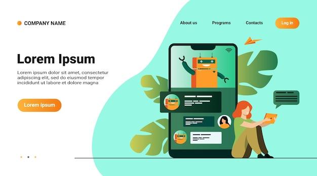 Pequeña mujer con asistente móvil con chatbot aislado ilustración vectorial plana. soporte al cliente moderno en línea