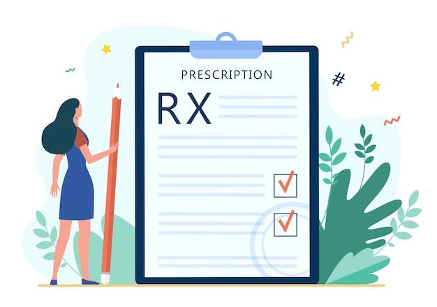 Pequeña mujer leyendo prescripción médica. rx, lápiz, marca de verificación ilustración vectorial plana. medicina y salud