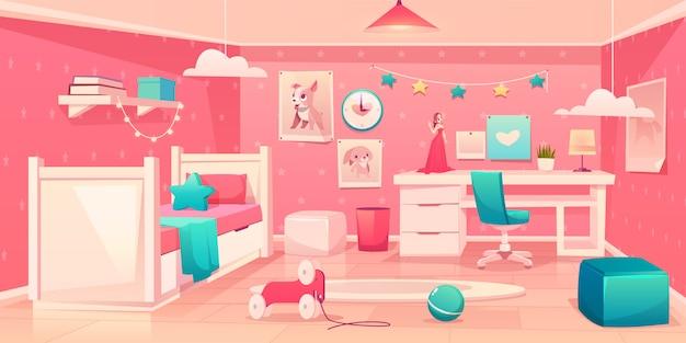 Pequeña niña dormitorio acogedor interior de dibujos animados