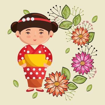 Pequeña niña japonesa kawaii con carácter de flores